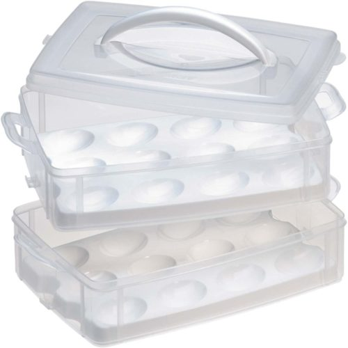 Snapware-Snap-N-Stack-2-Layer-Food-Storage-Carrier-with-Egg-Holder-Trays-BPA-Free-Plastic