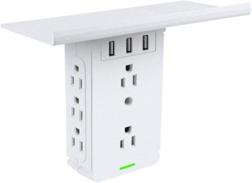 Socket Shelf 8 Outlet Surge Protector, Wall Socket Shelf Outlet Extender with 3 USB Charging Port, Bathroom Outlet Plug Expansion Shelf(8AC3USB-Surge Protector)