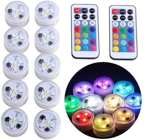 Submersible-LED-Lights-KUCAM-Waterproof-LED-Tea-Lights-Candle-with-Remote-Battery-OperatedRGB-Color-Changing-for-Vase-Home-Party-Wedding-Table-Centerpieces10-Pack