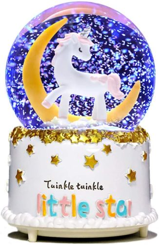 VECU-Unicorn-Snow-Globe-80-MM-Manual-Snowfall-Cartoon-Moon-Music-Box-Home-Decoration-for-Girls-Kids-Granddaughters-Babies-Birthday-Gift-Musical-Resin-Glass