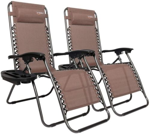 Folding Patio Recliner Chairs for Backyard Poolside Garden