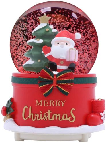 XXMANX-80-MM-Christmas-Snow-Globe-with-8-Music-and-4-Color-Lights-Santa-Music-Box-Home-Decoration-for-Girls-Boys-Kids-Granddaughters-Babies-Birthday-Gift-Musical-Resin-Glass-Manual-Snow-Drift