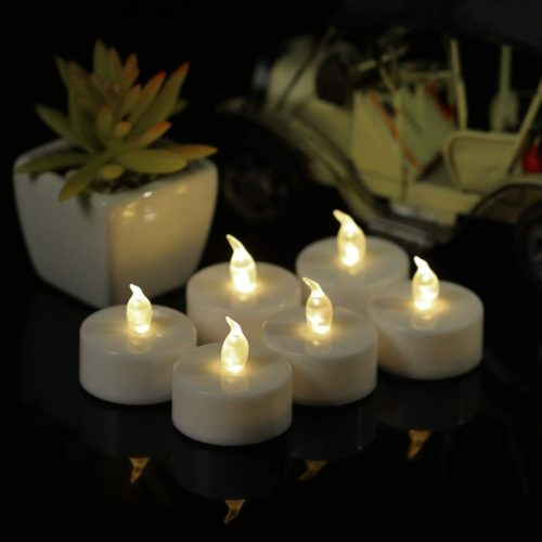 YIWER-Flameless-LED-Tealight-Candles-100-Hours-Pack-of-50-tealights-with-Battery-Operated-Flickering-Bulb-for-Seasonal-Festival-CelebrationsSmall-Realistic-Candles-in-Warm-White