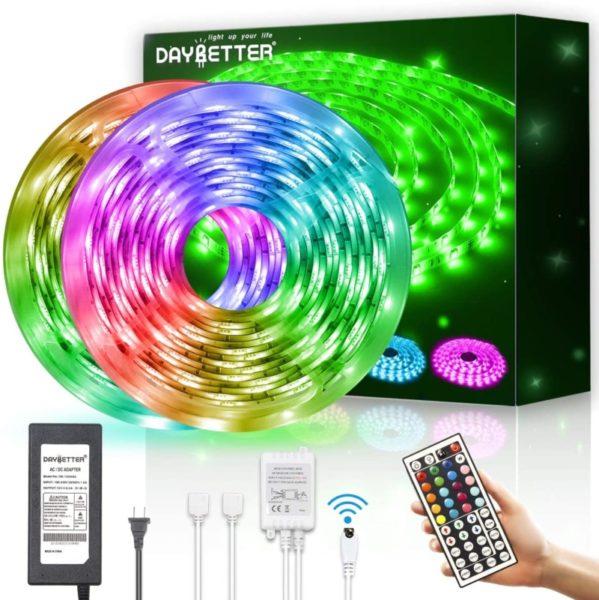1. DAYBETTER Led Strip Lights Waterproof 600leds 32.8ft 10m Flexible Color Change RGB SMD