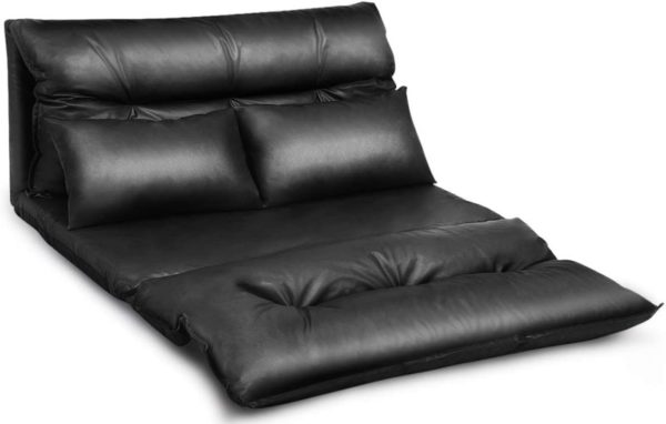 1. Giantex Floor Sofa PU Leather Leisure Bed Video Gaming Sofa with Two Pillows, Black