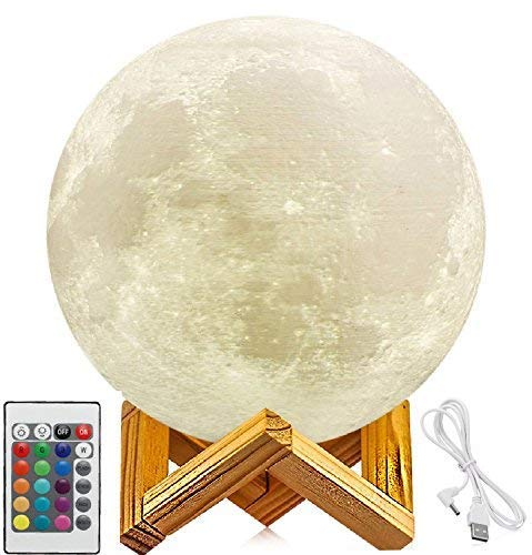 10. 3D Printing LED 16 Colors Moon Light, Touch and Remote Control Moon Light