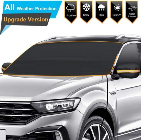 10. BruRkim Car Windshield Snow Ice Cover for Winter, Sunshade Cover for Summer