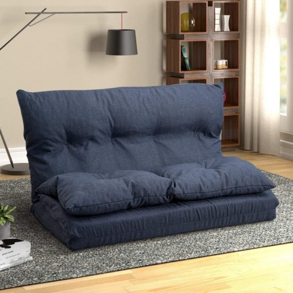 10. Floor Sofa Adjustable Lazy Sofa Bed, Foldable Mattress Futon Couch Bed (Navy Blue)