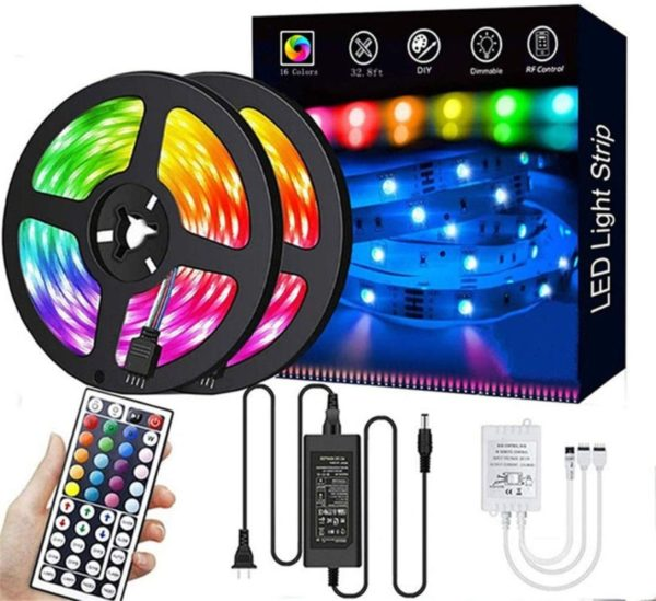 10. LED Strip Lights,32.8ft RGB 300LEDs Waterproof Light Strip Kits with infrared 44 Key