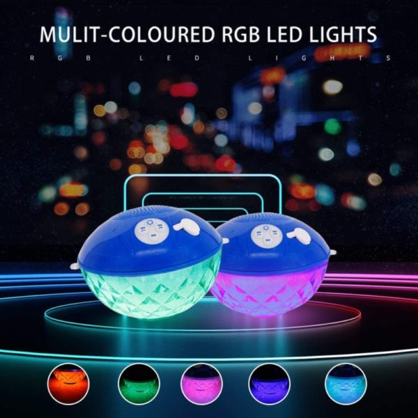 11. Bluetooth Speakers with Colorful Lights, Portable Speaker IPX7 Waterproof Floatable