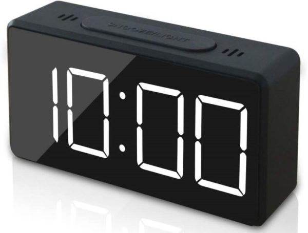 11. GLOUE Small Mini Digital Alarm Clock for Travel with LED Time or Temperature Display