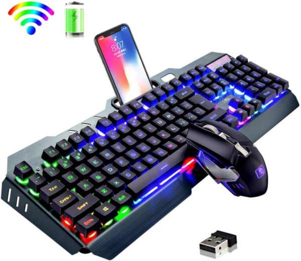 11. Wireless Keyboard and Mouse,Rainbow LED Backlit Rechargeable Keyboard Mouse