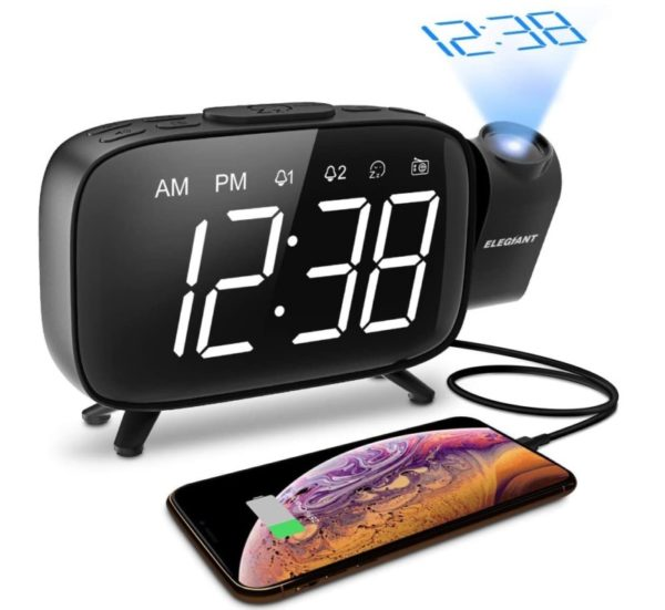 12. ELEGIANT Projection Alarm Clock, FM Radio Alarm Clock