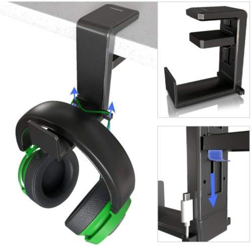 12. GoZheec PC Gaming Headphone Stand Holder, Under Desk Headset Headphone Hanger