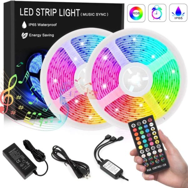 12. Led Strip Lights, 32.8ft IP65 Waterproof LED Light Strip with Music Sync