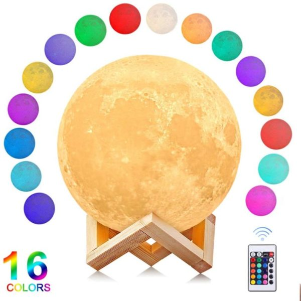 13. AGM Moon Lamp 3D Printing 16 Colors 5.9 Inch Hanging Moon Night Light with Stand