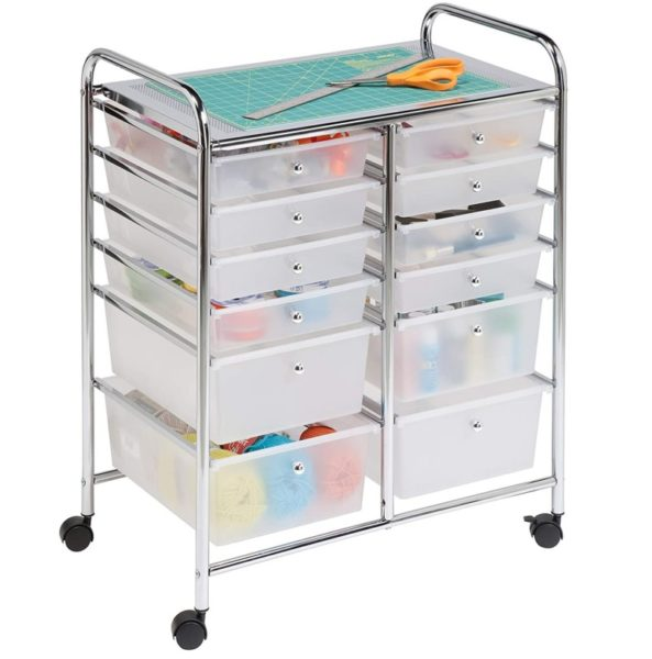2. Honey-Can-Do Rolling Storage Cart and Organizer with 12 Plastic Drawers