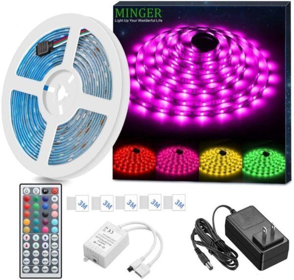 2. MINGER LED Strip Light Waterproof 16.4ft RGB SMD 5050 LED Rope Lighting Color Changing Full