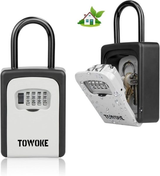 3. TOWOKE Key Lock Box For Outside - Weatherproof Lock box For House Key