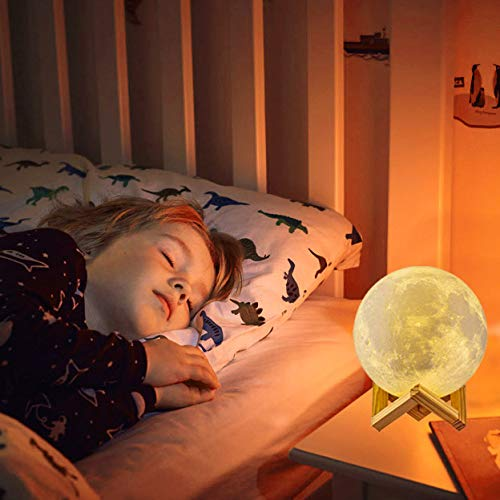 4. Moon Lamp Moon Lights,Rechargeable 3D Printed 16 Colors with Stand & Remote & Touch Control