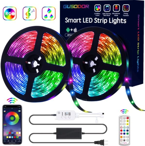 4. GUSODOR LED Strip Lights RGB Strips 32.8ft Tape Light 300 LEDs