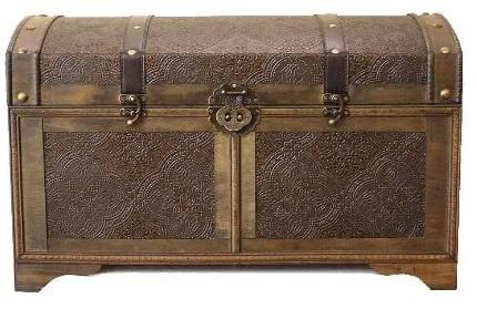 4. Styled Shopping Nostalgic Medium Wood Storage Trunk Wooden Treasure Chest