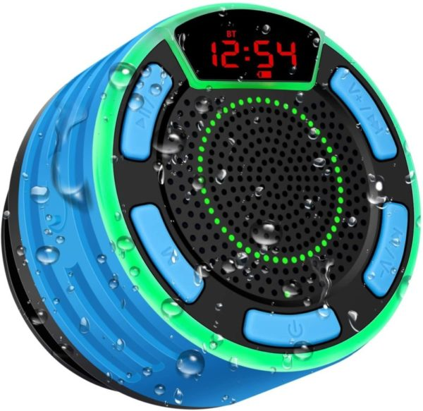5. Bluetooth Speakers, BassPal IPX7 Waterproof Portable Wireless Shower Speaker with LED Display