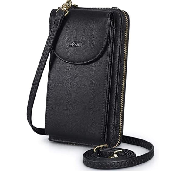 5. S-ZONE PU Leather RFID Blocking Crossbody Cell Phone Bag for Women Wallet Purse