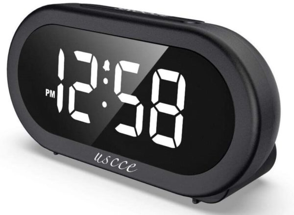 5. USCCE Small LED Digital Alarm Clock with Snooze, Easy to Set, Full Range Brightness Dimmer, Adjustable Alarm Volume with 5 Alarm Sounds, USB Charger