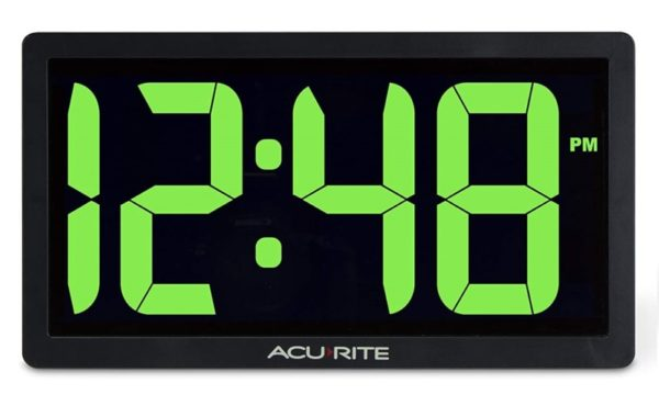6. AcuRite 75112M 10-inch LED Digital Clock with Auto Dimming Brightness Green