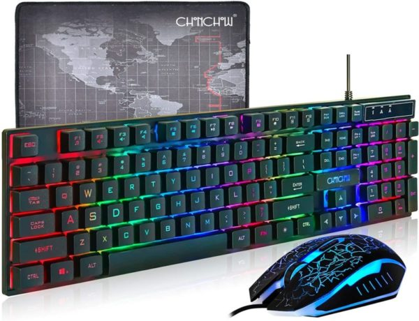 6. CHONCHOW LED Backlit Wired Gaming Keyboard and Mouse Mousepad Combo US Layout USB Keyboards