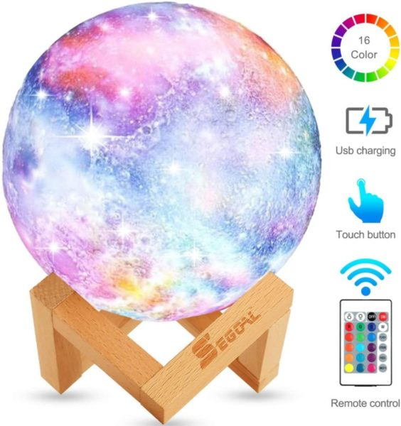 6. Moon Lamp Moon Light Kids Night Light Galaxy Lamp 16 Colors LED 5.9 Inch 3D Star Lamp