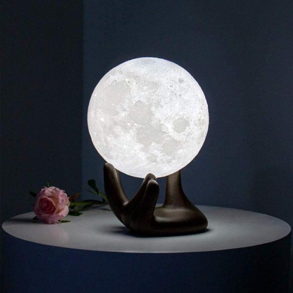 7. BRIGHTWORLD Moon Lamp, 3.5 inch 3D Printing Lunar Lamp Night Light with Black Hand Stand as Kids Women Girls Boy Birthday Gift