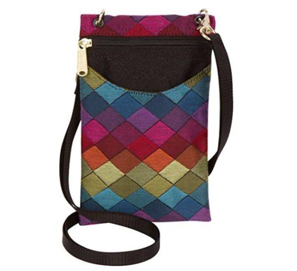 7. Danny K Women's Tapestry Crossbody Cell Phone or Passport Purse, Handmade in USA