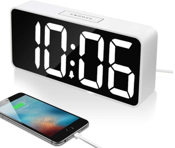 7. Large LED Digital Alarm Clock with USB Port for Phone Charger