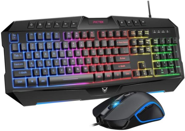 8. PICTEK Backlit Keyboard and Mouse Combo, LED Wired Gaming Keyboard