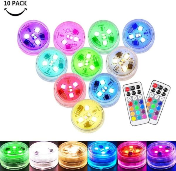 8. Small Submersible LED Lights Mini Waterproof LED Tea Lights Candles Multi-color Battery Powered