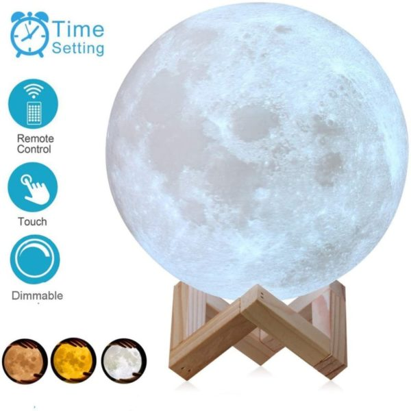 9. AED 3D Printed Moon Lamp with Stand, Touch & Remote Control