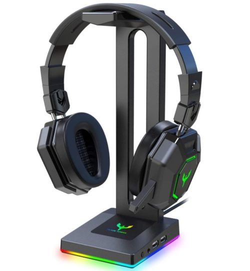 9. Blade Hawks RGB Gaming Headphone Stand with 3.5mm AUX and 2 USB Ports