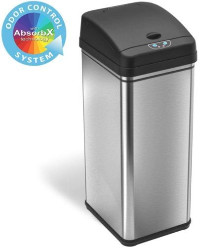iTouchless 13 Gallon Stainless Steel Automatic Trash Can with Odor-Absorbing Filter, Wide Opening Sensor Kitchen Trash Bin, Powered by Batteries (not included) or Optional AC Adapter (sold separately) TOP 10 BEST GARBAGE BINS IN 2020 REVIEWS