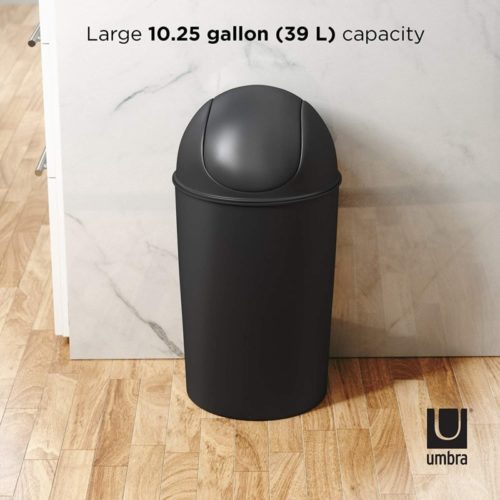 Umbra 086711-040 Grand Swing Top Garbage Large Capacity 10 Gallon Kitchen Trash Can with Lid, Indoor/Outdoor Use, Black
