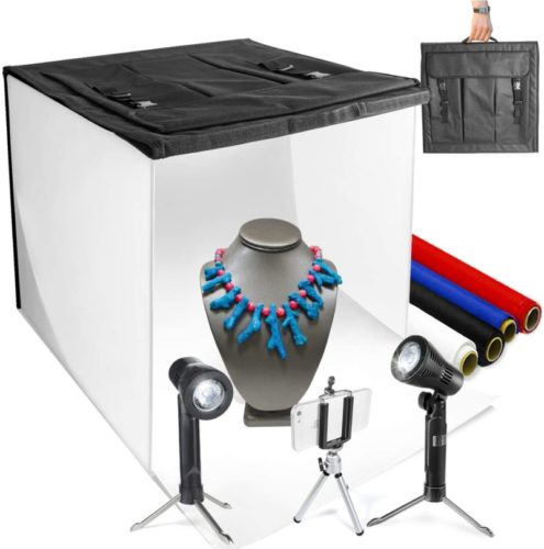 """LimoStudio 16"""" x 16"""" Table Top Photo Photography Studio LED Lighting, Light Tent Kit in a Box, Photo Background Shooting Tents, AGG349"""
