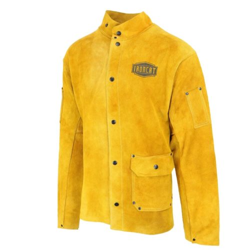 West Chester IRONCAT 7005 Heat Resistant Split Cowhide Leather Jacket - Large, Kevlar Thread Stitched Welding Jacket in Golden Yellow. Welding Gears