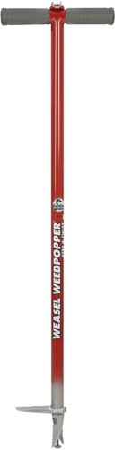 "Garden Weasel Step and Twist Hand Weeder, Chemical Free Weeding, 36"" Long, Red & Silver"