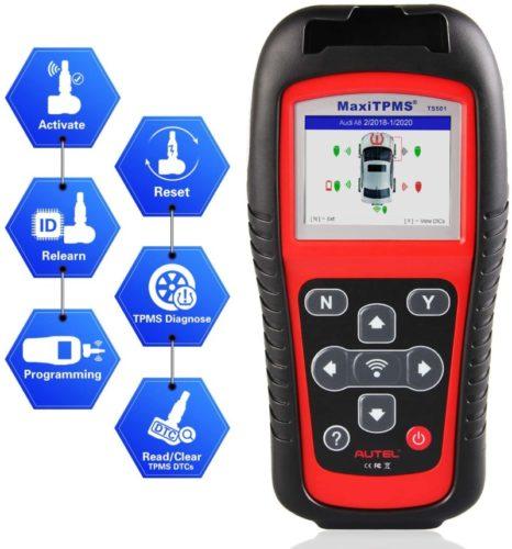 Autel MaxiTPMS TS501 TPMS Car Diagnostic Tool Activate TPMS Sensors/Read sensor data/TPMS Sensor Programming/Check Key FOB/Program MX-Sensor/Read/Clear TPMS DTCs/Relearn by OBD Function TOP 10 BEST TPMS TOOLS IN 2021 REVIEWS