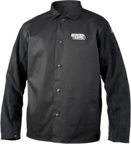 Lincoln Electric Split Leather Sleeved Welding Jacket | Premium Flame Resistant Cotton Body | Black | Medium | K3106-M TOP 10 BEST LEATHER WELDING JACKETS IN 2021 REVIEWS