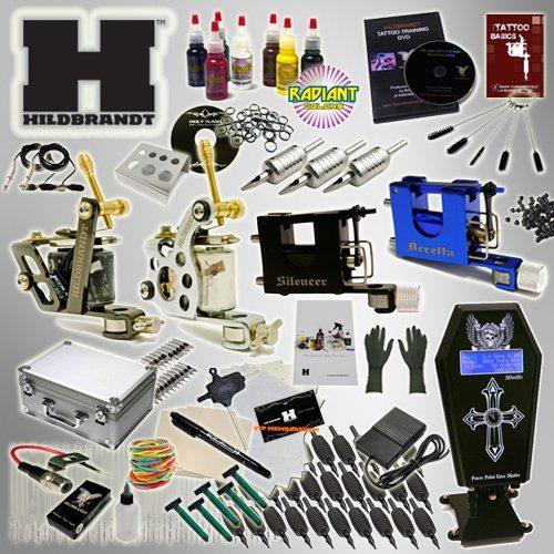 Hildbrandt Tattoo Kit Pro 3 Machine Gun + TKHPRO2 + Needle + Power Supply + Inks + Case