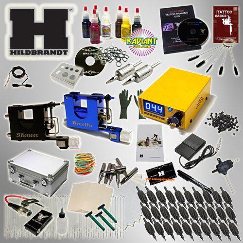 Professional Rotary Tattoo Kit Hildbrandt Advanced TKHADVR 2 Machine Gun + Needle + Power Supply + Inks + Case