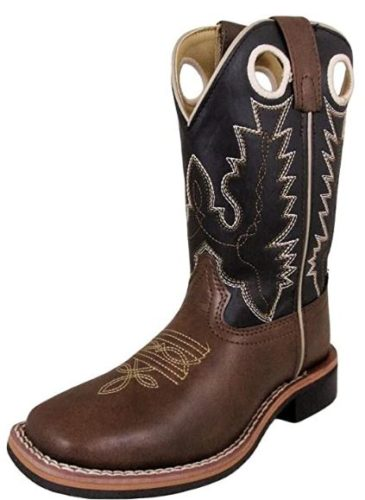 Smoky Mountain Childrens Blaze Stitched Design Rubber Sole Square Toe Brown/Black Western Cowboy Boot,2 M US