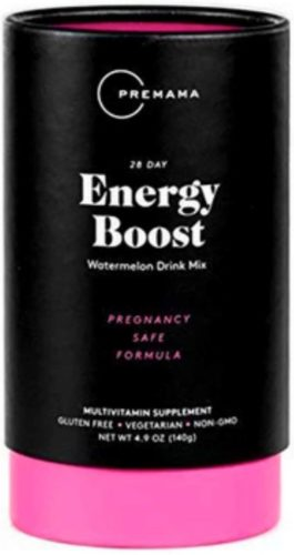 Premama Prenatal Energy Boost Drink Mix | Caffeine Free Energy Supplement for Pregnancy | Stimulant Free Multivitamin with Omega 3 and B Vitamins | Gluten Free Vegetarian Non GMO | 28 Servings